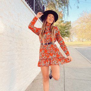 Missguided Long Sleeve Floral Mini Dress